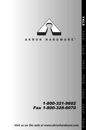 1-800-321-9602 Fax 1-800-328-6070 - Akron Hardware