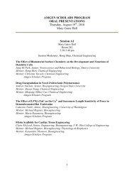 AMGEN SCHOLARS PROGRAM ORAL PRESENTATIONS ...