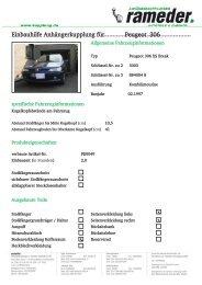 Einbauhilfe Anhängerkupplung für Peugeot 306