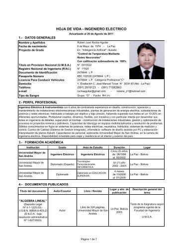 HOJA DE VIDA - INGENIERO ELECTRICO - Ingenieria Eléctrica
