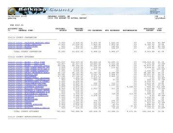 2013 YTD BUDGET VS ACTUAL REPORT - Belknap County