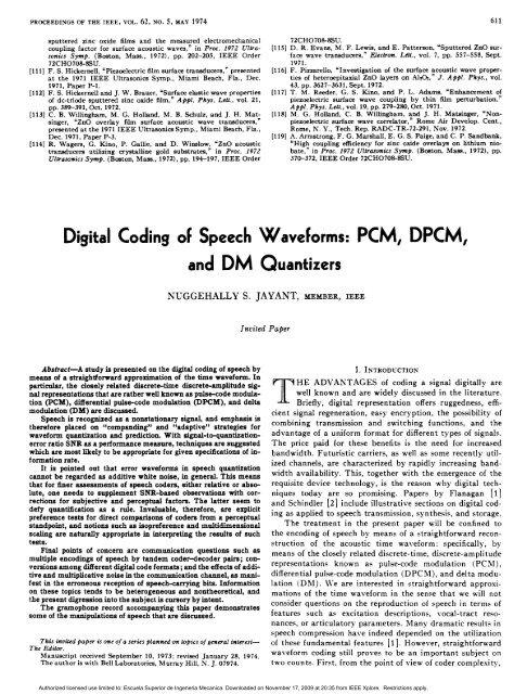 Digital Coding of Speech Waveforms: PCM, DPCM, and DM
