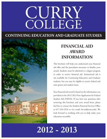 FINANCIAL AID AWARD INFORMATION - Curry College