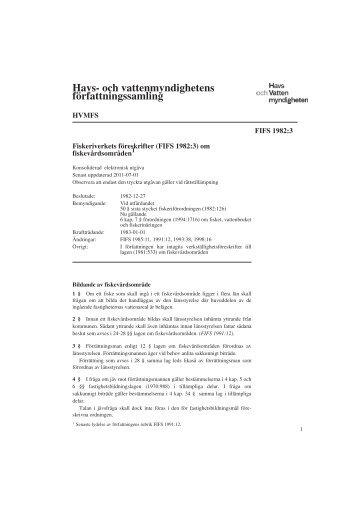 HVMFS - FIFS 1982-3-keu-11070... - Havs- och vattenmyndigheten