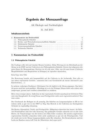 Ergebnis der Mensaumfrage - Stuve Uni Erlangen-Nürnberg