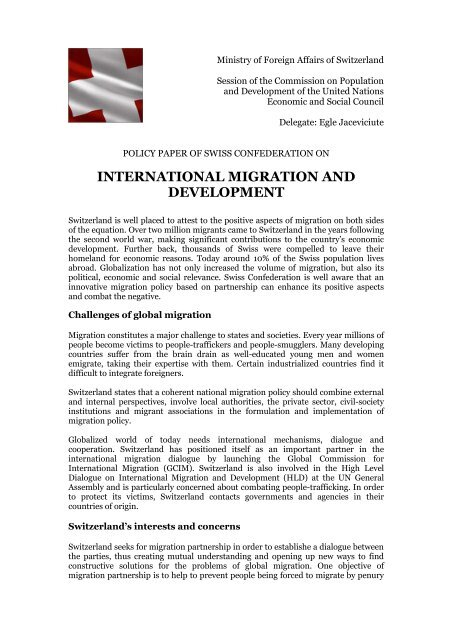 INTERNATIONAL MIGRATION AND DEVELOPMENT - ViaMUN