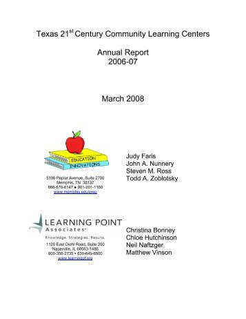 Texas 21 Century Community Learning Centers Annual Report ...