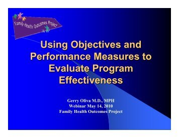 Using Objectives and Performance Measures to Evaluate ... - FHOP