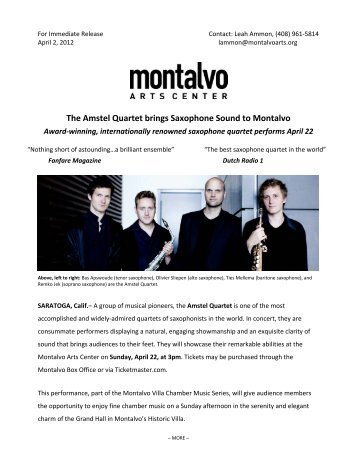 The Amstel Quartet brings Saxophone Sound to Montalvo