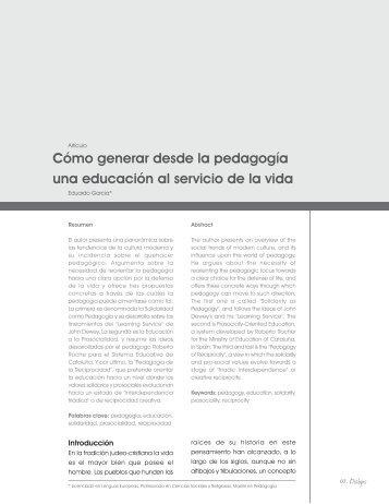 Cómo generar desde la pedagogía una educación al servicio de la ...