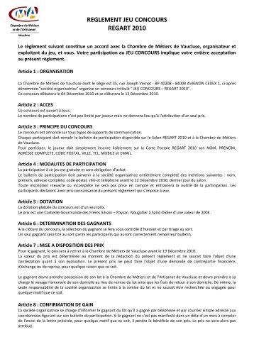 REGLEMENT JEU CONCOURS REGART 2010 - Chambre de ...
