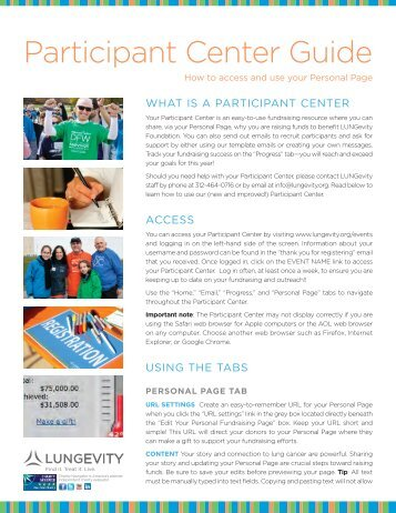 Download our Participant Center Guide here (pdf) - LUNGevity ...