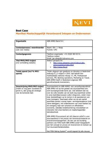 Manifest MVO best case ABN AMRO Bank NV - Nevi