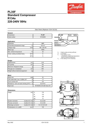 PL35F Standard Compressor R134a 220-240V 50Hz