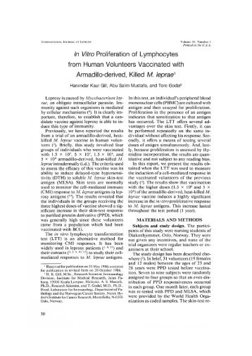 In Vitro Proliferation of Lymphocytes from Human Volunteers ...