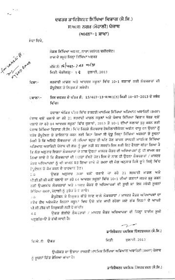 Deputation of Lecturers in Adarsh/Model School - SSA Punjab