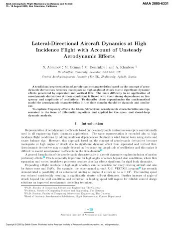 Lateral-Directional Aircraft Dynamics at High Incidence Flight with ...