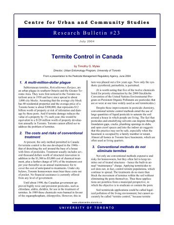 Termite Control in Canada - Cities Centre - University of Toronto