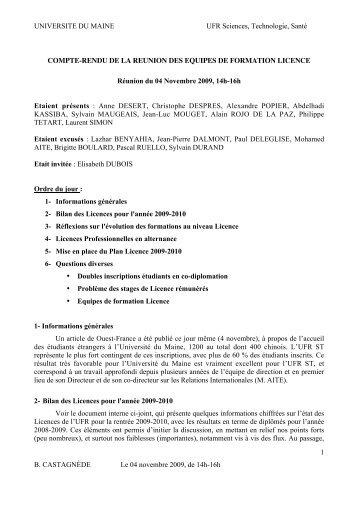 UNIVERSITE DU MAINE UFR Sciences, Technologie, Santé B ...