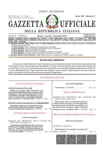 Gazzetta Ufficiale n. 11 del 14 gennaio 2013 - Il Sole 24 ORE