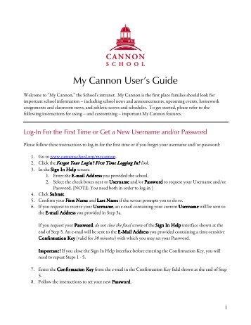 My Cannon User's Guide - Cannon School