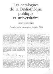 Les catalogues de la Bibliothèque publique et ... - RERO DOC