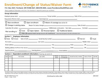 Enrollment/Change of Status/Waiver Form - Providence Health Plan