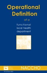 Definition of a Functional Health Department, NACCHO, 2006