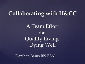 Collaborating with H&CC - BC Renal Agency