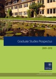 Graduate Studies Prospectus - University of Oxford