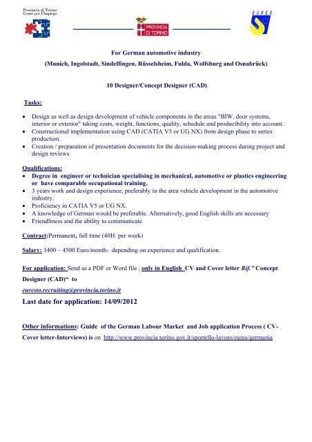 Last date for application: 14/09/2012 - Provincia di Torino