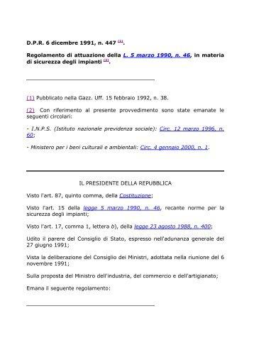 D.P.R. 6 dicembre 1991, n. 447 (1). Regolamento di attuazione della ...