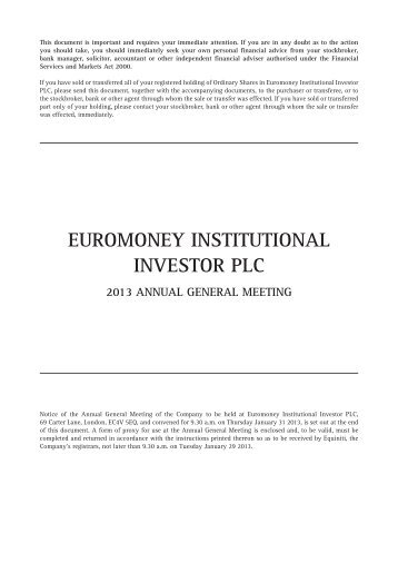 Notice of Annual General Meeting 2013 - Euromoney Institutional ...