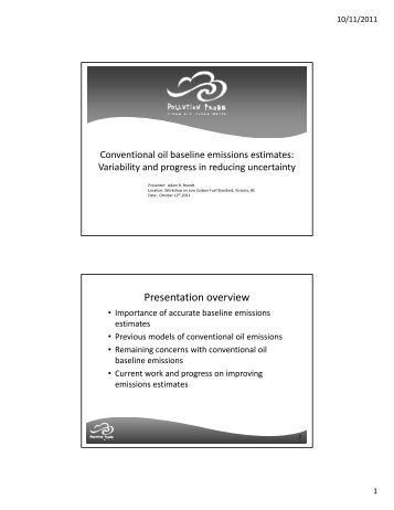 Conventional oil baseline emissions estimates - Pollution Probe