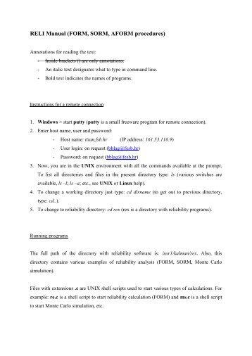 RELI Manual (FORM, SORM, AFORM procedures) - FESB