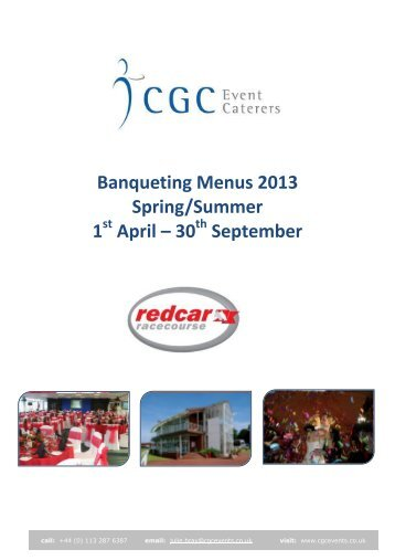 Banqueting Menus 2013 Spring/Summer 1 April – 30 September