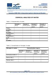 CHEMICAL ANALYSIS OF WATER - Gimnazija Ledina