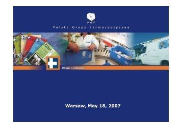 Warsaw, May 18, 2007 - Pelion.eu