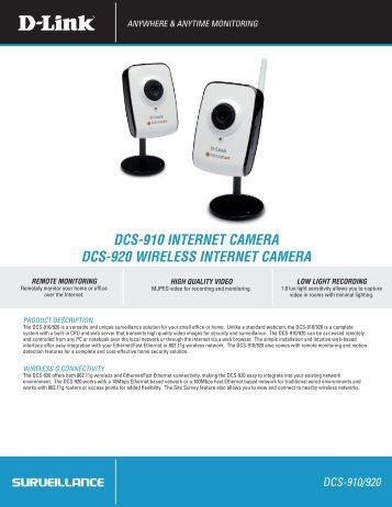 DCS-910 INTERNET CAMERA DCS-920 WIRELESS ... - D-Link
