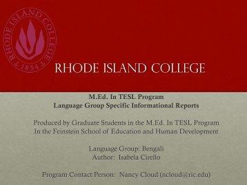 Bengali Informational Report বেঙ্গলি ইন্ফর্মাতীয়নাল ... - RITELL