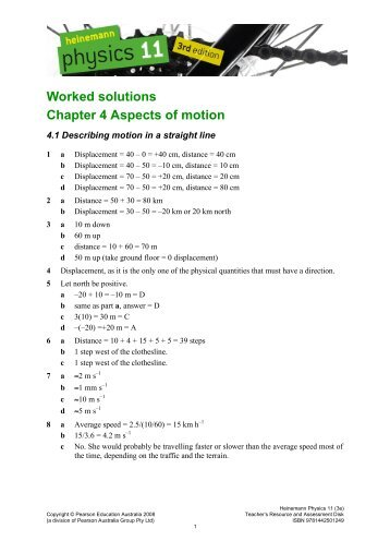 Worked solutions Chapter 4 Aspects of motion - PEGSnet