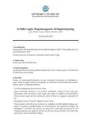 LC2600, Logik: Magisteruppsats, 30 högskolepoäng