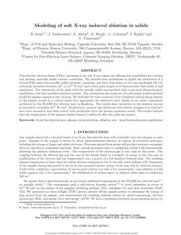 Modeling of soft X-ray induced ablation in solids
