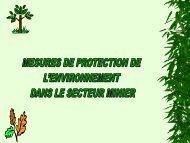 Mesures de protection de l'environnement dans le secteur minier