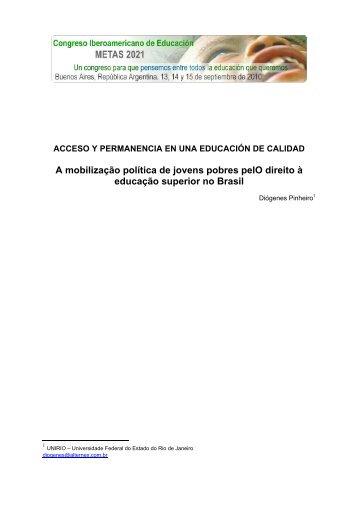 A mobilização política de jovens pobres pelO direito à educação ...