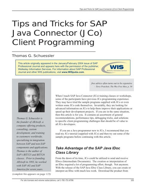 Tips and Tricks for SAP Java Connector (JCo) Client Programming