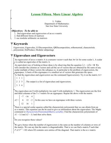 Lesson Fifteen. More Linear Algebra - Department of Mathematics ...