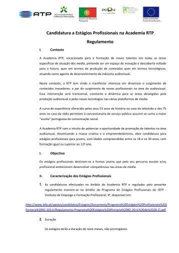 Candidatura a Estágios Profissionais na Academia RTP Regulamento