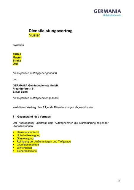 Dienstleistungsvertrag Germania
