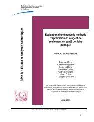 Série B : Études et analyses scientifiques - Agence de la santé et ...